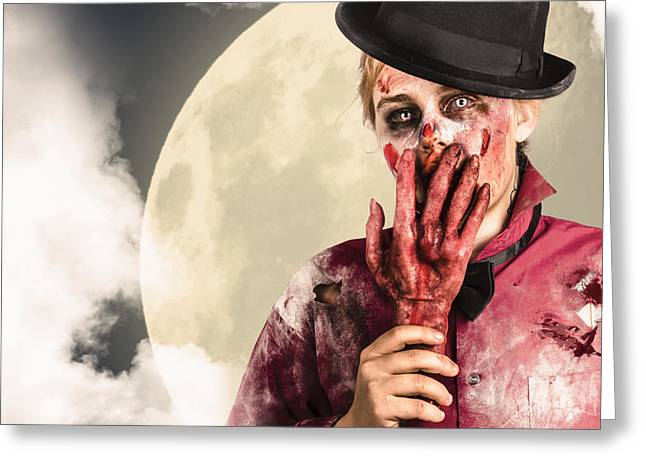 Grisly Greeting Cards - Full moon on a scary halloween night Greeting Card by Ryan Jorgensen