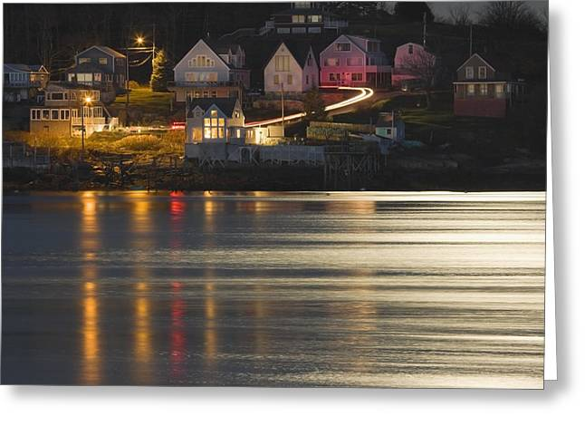 Shining Down Greeting Cards - Full Moon Over Kennebec River Georgetown Island Maine Greeting Card by Keith Webber Jr