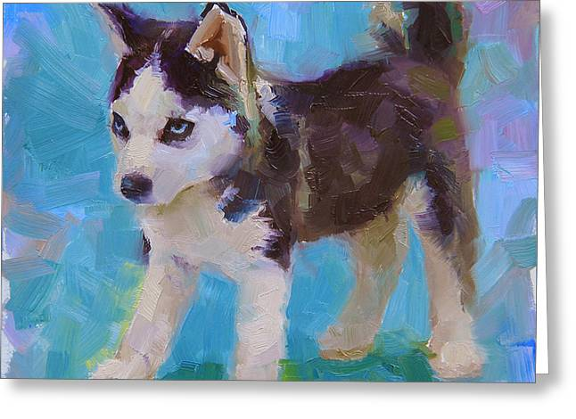 Recently Sold -  - Husky Greeting Cards - Full Of It - Alaskan Husky Sled Dog Puppy Greeting Card by Karen Whitworth