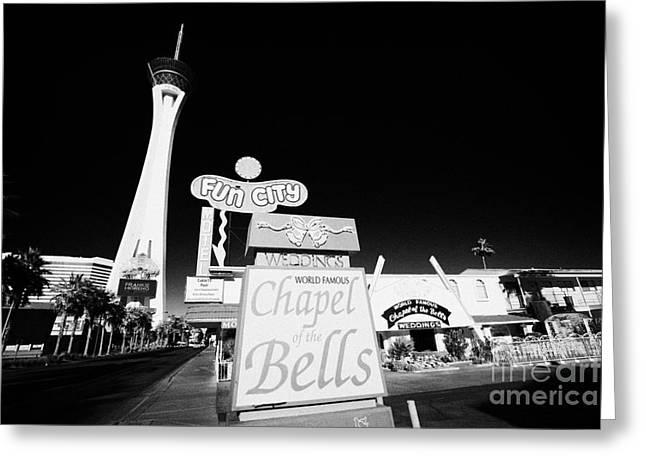 Wedding Chapel Greeting Cards - fun city motel and chapel of the bells wedding chapel on the strip Las Vegas Nevada USA Greeting Card by Joe Fox