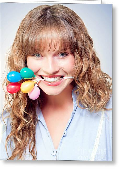 Fun Party Girl With Balloons In Mouth Greeting Card by Jorgo Photography - Wall Art Gallery