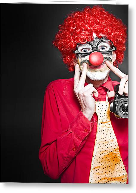 Amateur Photographer Greeting Cards - Fun Smiling Clown Holding Camera Taking Happy Snap Greeting Card by Ryan Jorgensen