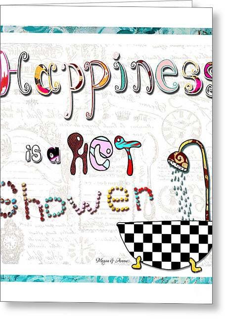 Surface Design Greeting Cards - Fun Whimsical Inspirational Word Art Happiness Quote By Megan And Aroon Greeting Card by Megan Duncanson