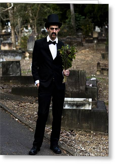 Headstones Greeting Cards - Funeral Attendee Greeting Card by Ryan Jorgensen