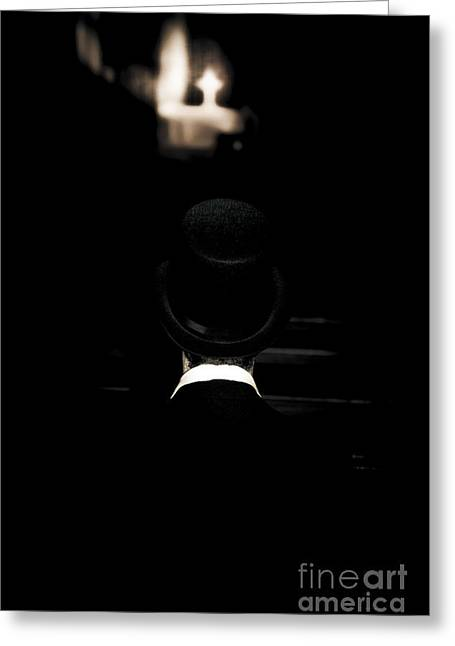 Funeral Director Sitting In Pew Greeting Card by Jorgo Photography - Wall Art Gallery
