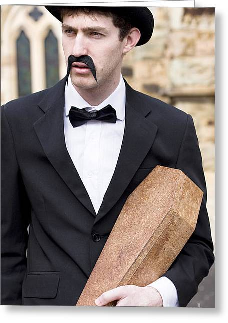 Youthful Greeting Cards - Funeral Director With Coffin Greeting Card by Ryan Jorgensen