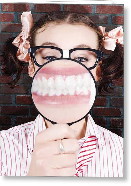 Over Sized Greeting Cards - Funny Dentist Showing White Teeth And Big Smile Greeting Card by Ryan Jorgensen