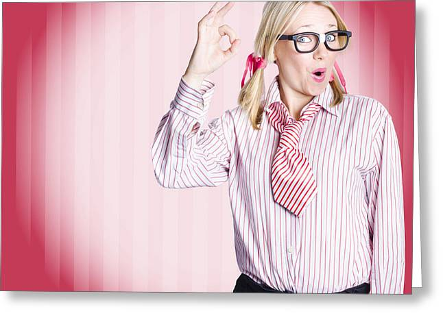 Eye Gestures Greeting Cards - Funny female business auditor giving ok approval Greeting Card by Ryan Jorgensen