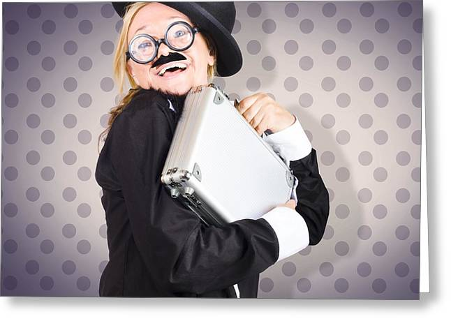 Funny Female Character In Suit Showing Fun At Work Greeting Card by Jorgo Photography - Wall Art Gallery