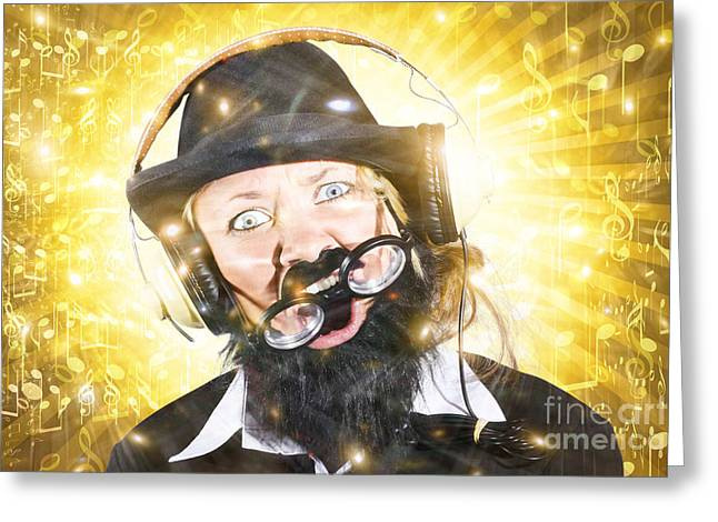 Jubilation Greeting Cards - Funny male sound engineer. Mad about music Greeting Card by Ryan Jorgensen