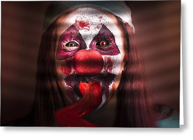 Scary Clown Greeting Cards - Funny medical clown in the hospital closet Greeting Card by Ryan Jorgensen