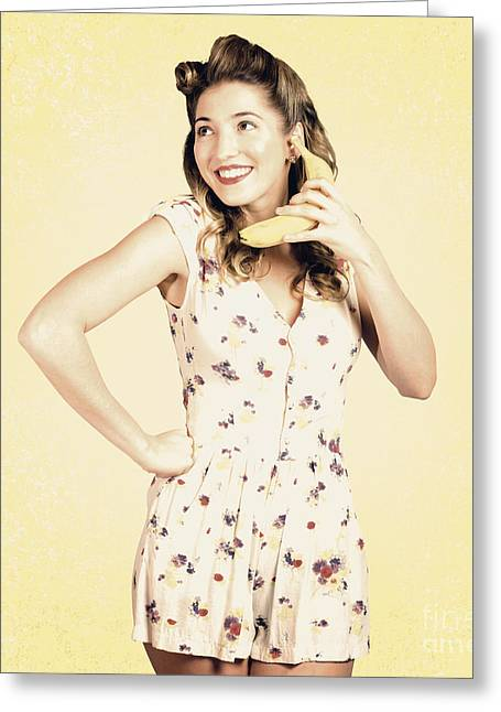 Ordering Greeting Cards - Funny pin-up model in conversation on banana phone Greeting Card by Ryan Jorgensen