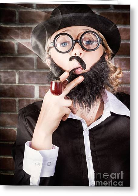 Clever Greeting Cards - Funny private eye detective smoking pipe Greeting Card by Ryan Jorgensen