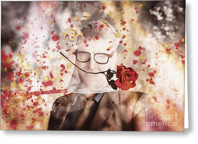Funny Valentine Nerd Caught In Net Of Romance  Greeting Card by Jorgo Photography - Wall Art Gallery