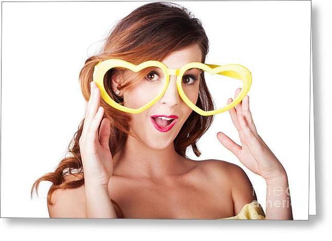Over Sized Greeting Cards - Funny woman with heart shape sunglasses Greeting Card by Ryan Jorgensen