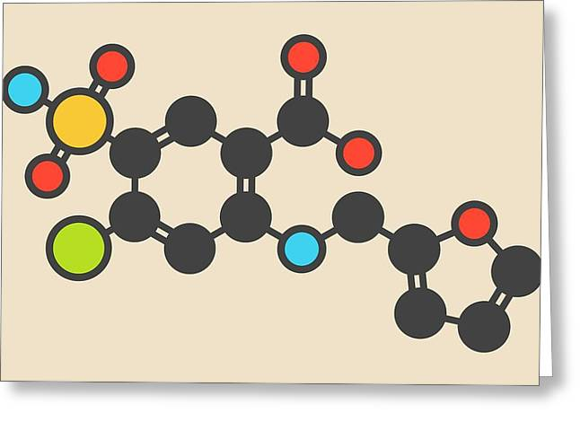 Furosemide Diuretic Drug Molecule Greeting Card by Molekuul