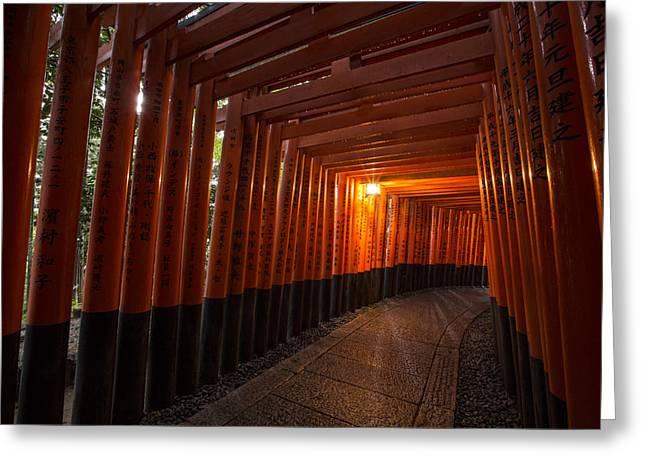 Wet Window Greeting Cards - Fushimi Inari Greeting Card by Ruben Vicente