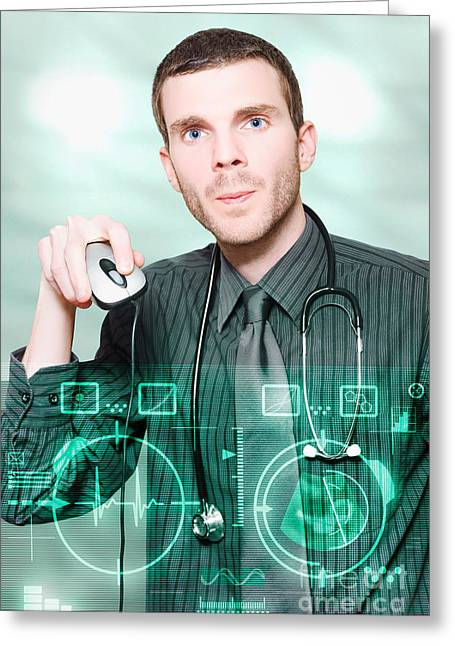 Futuristic Medicine Doctor Working With Interface Greeting Card by Jorgo Photography - Wall Art Gallery