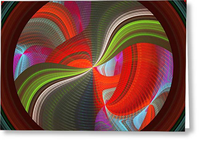 Geometric Style Greeting Cards - Futuristic Tech Disc Fractal Flame Greeting Card by Keith Webber Jr