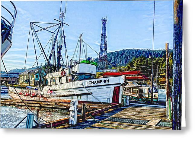 Boats At Dock Greeting Cards - FV Champion Greeting Card by Timothy Latta