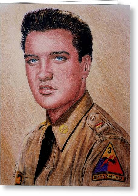 American Gi Drawings Greeting Cards - G I Elvis  Greeting Card by Andrew Read