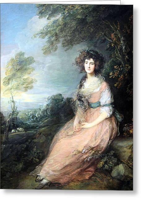 Mrs. Richard Greeting Cards - Gainsboroughs Mrs. Richard Brimsley Sheridan Greeting Card by Cora Wandel