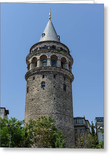 Genoese Greeting Cards - Galata Tower in Instabul Turkey Greeting Card by Brandon Bourdages