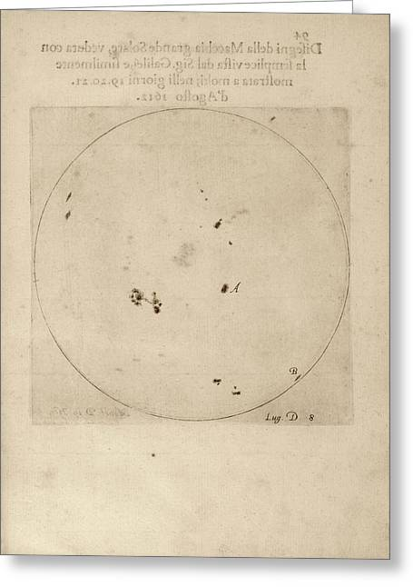 Galileo's Observation Of Sunspots Greeting Card by Library Of Congress