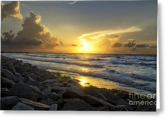 Galveston Greeting Cards - Galveston Sunrise Greeting Card by Cathy Alba