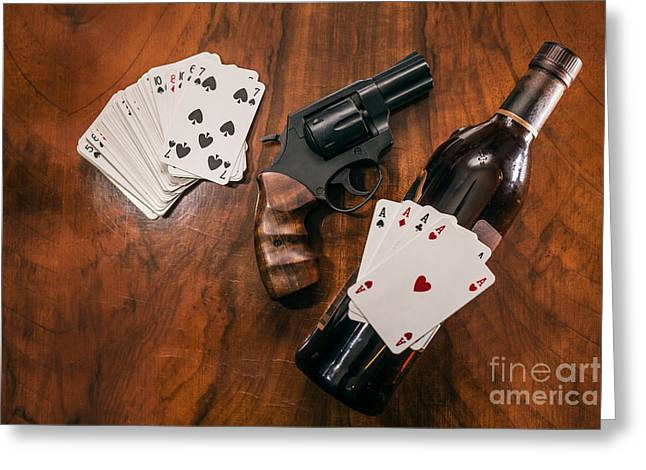 Win Bottles Greeting Cards - Gambling concept Greeting Card by Jan Mika