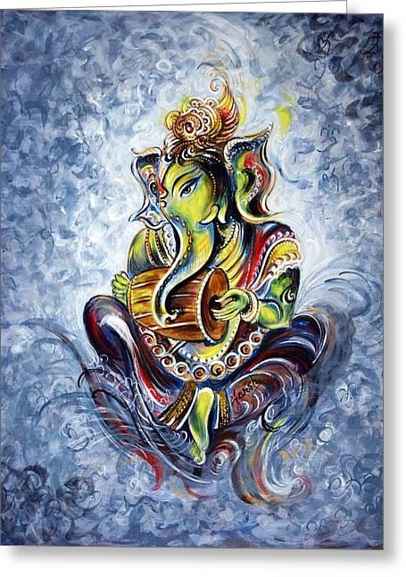 Musical Ganesha Greeting Card by Harsh Malik