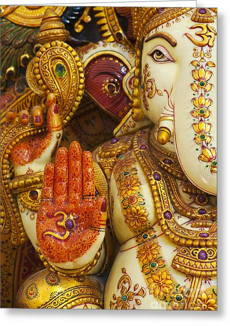 Blessing Greeting Cards - Ornate Ganesha Greeting Card by Tim Gainey