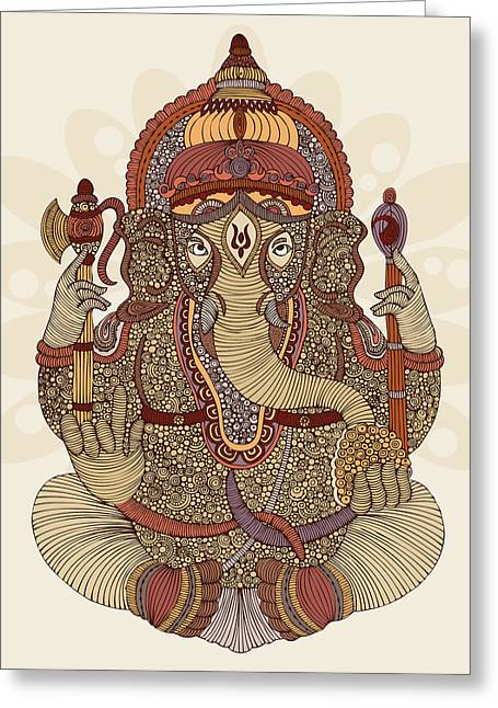 Meditate Greeting Cards - Ganesha Greeting Card by Valentina Ramos