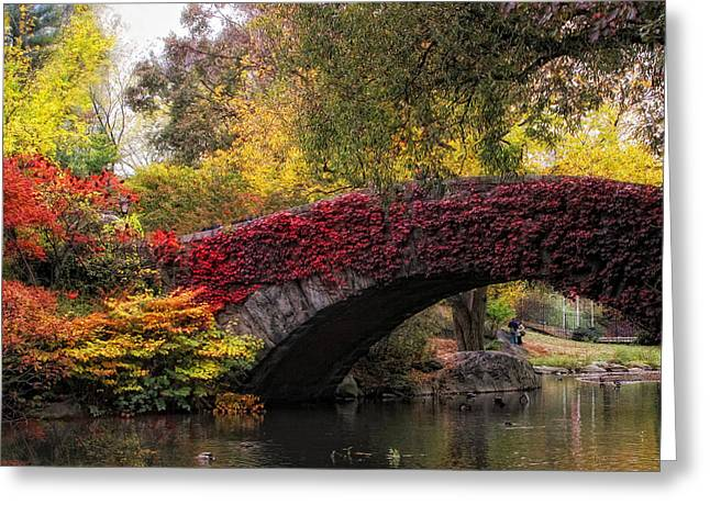 Footbridge Greeting Cards - Gapstow Bridge in Autumn Greeting Card by Jessica Jenney