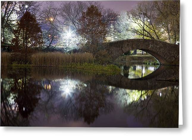 Central Greeting Cards - Gapstow Bridge Greeting Card by Mike Lang