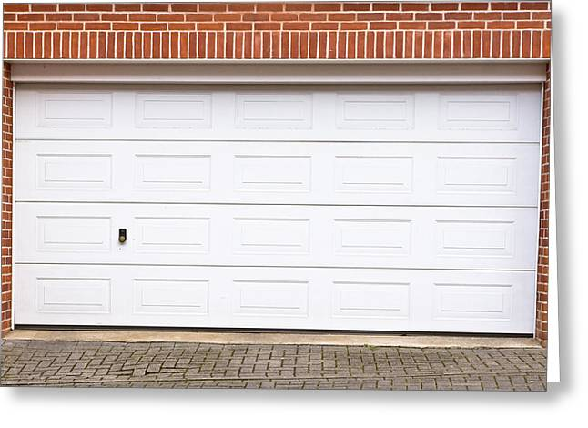 Controlled Greeting Cards - Garage door Greeting Card by Tom Gowanlock