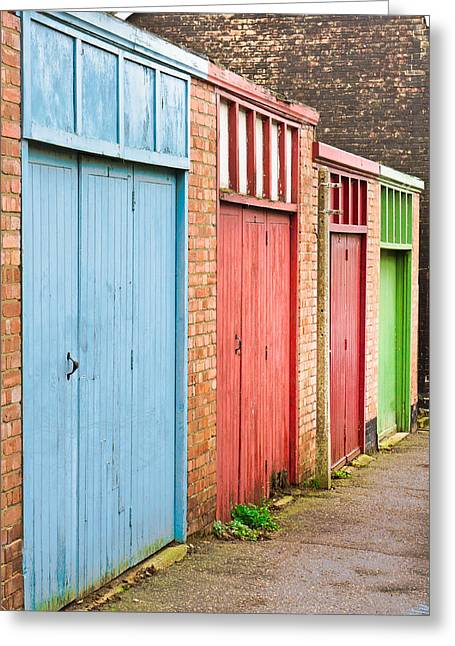 Shed Photographs Greeting Cards - Garage doors Greeting Card by Tom Gowanlock
