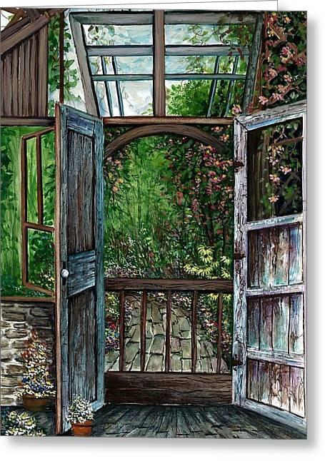 Award Winning Art Greeting Cards - Garden Backyard Greeting Card by Steven Schultz