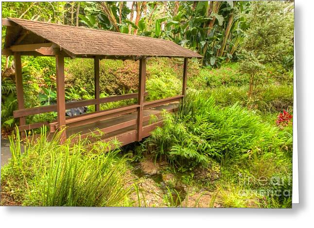 Maui Greeting Cards - Garden Bridge Greeting Card by Andy Jackson
