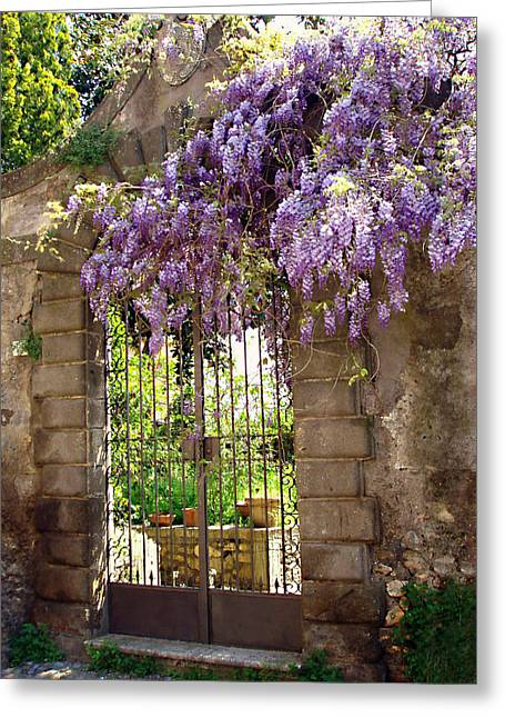 Stone Fence Greeting Cards - Garden Gate Greeting Card by Ellen Henneke