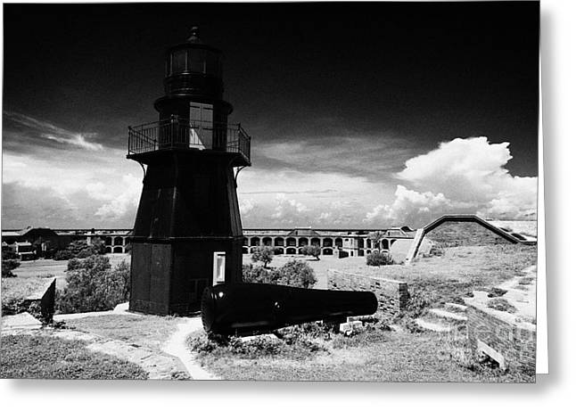 Dry Tortugas Greeting Cards - Garden Key Lighthouse Terreplein And Rodman Cannon On Fort Jefferson Dry Tortugas National Park Flor Greeting Card by Joe Fox
