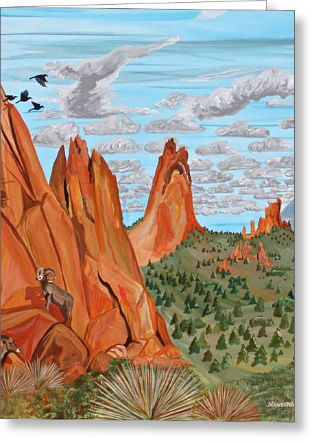Pinion Paintings Greeting Cards - Garden of the Gods Greeting Card by Mike Nahorniak