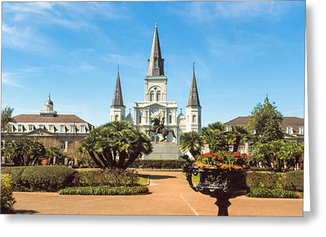 St. Louis Cathedral Greeting Cards - Garden Of The St. Louis Cathedral Greeting Card by Panoramic Images