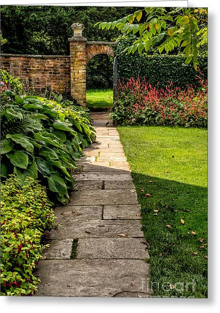 Exit Greeting Cards - Garden Path Greeting Card by Adrian Evans