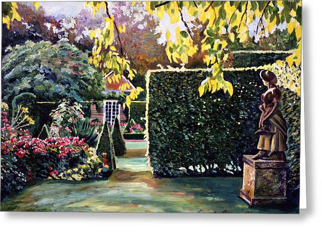 Evening Lights Paintings Greeting Cards - Garden Statue Greeting Card by David Lloyd Glover