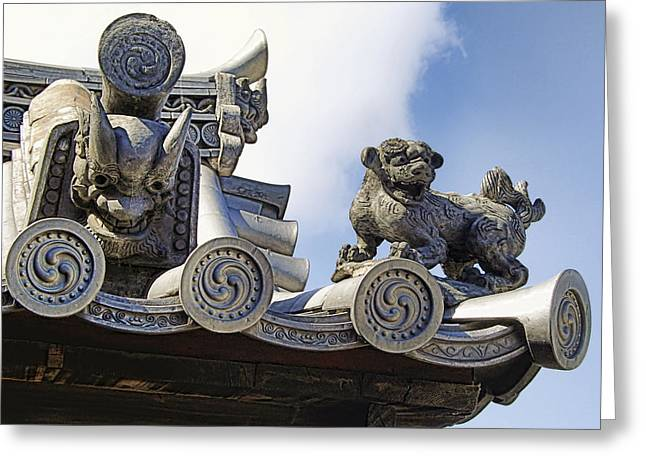 Nara Greeting Cards - GARGOYLES of HORYU-JI TEMPLE - NARA JAPAN Greeting Card by Daniel Hagerman