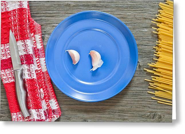 Condiment Greeting Cards - Garlic Greeting Card by Tom Gowanlock