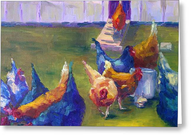 Terry Chacon Greeting Cards - Garys Chickens Greeting Card by Terry  Chacon