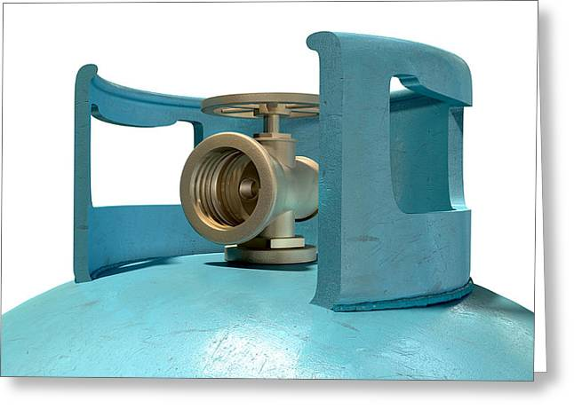 Bronce Greeting Cards - Gas Cylinder Valve Closeup Greeting Card by Allan Swart
