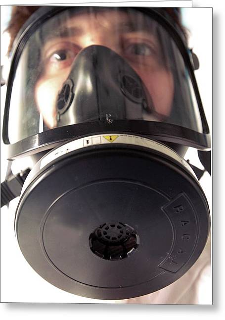 Gas Mask Greeting Card by Crown Copyright/health & Safety Laboratory Science Photo Library
